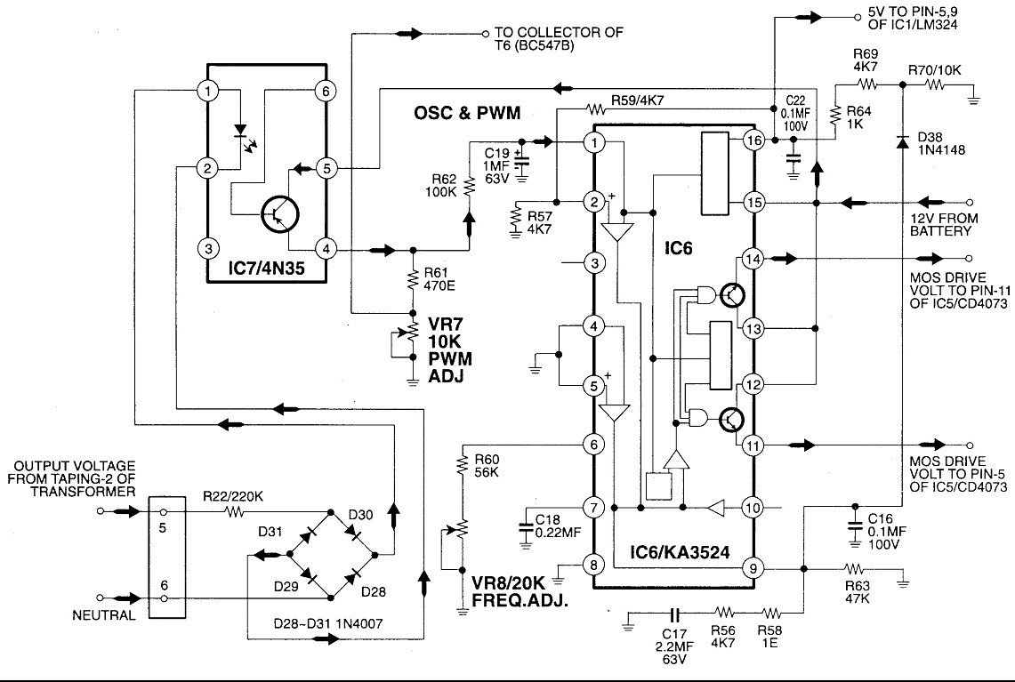 The Circuit Uses A 3524 Regulating Pulse Width Modulator Wiring Lc Filter Diagram Basiccircuit Seekic Mosfet Based 500 Watt Pwm Inverter With Solar Battery Charger Rh Manish516 Wordpress Com