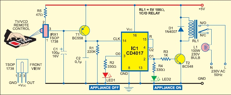 REMOTE CONTROL CIRCUIT FOR TURN ON/OFF ANY HOME APPLIANCES | The ...