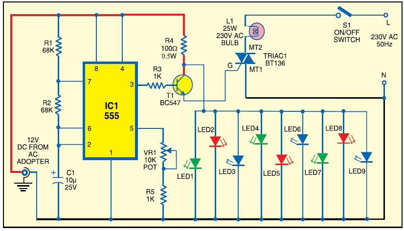 Flasher Circuit Using 555 Ic on solar battery charger circuit diagram